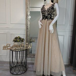 Black & Ivory Formal Evening Prom Dress Gown